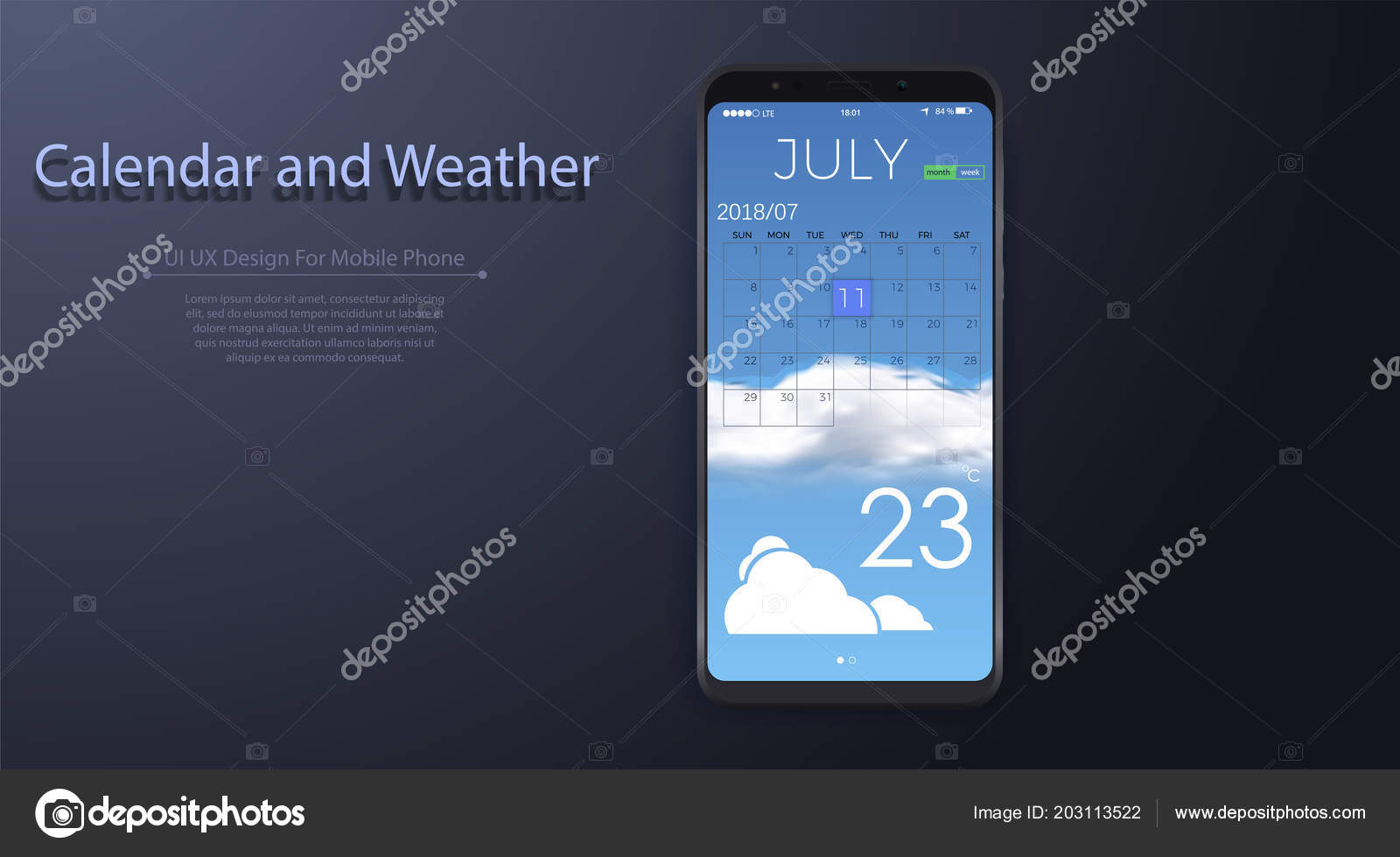 calendar and weather app with to do list and tasks ui ux design for