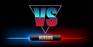 Blue neon versus logo vs letters for sports and fight competition. Battle vs match, game concept competitive vs.