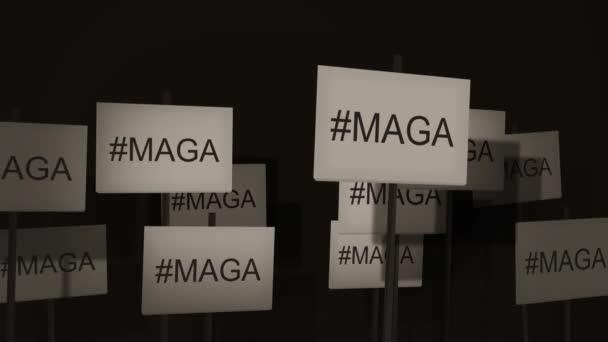 Mávání příznaky protest nebo povědomí o seriálu - #Maga - aby Amerika skvělá znovu