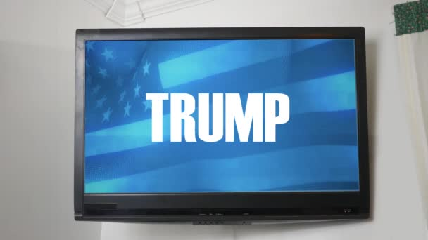 A TV displaying presidential message about Donald Trump