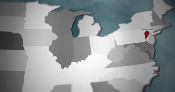 Modern United States motion graphics map - Philadelphia Pin Location  Animation