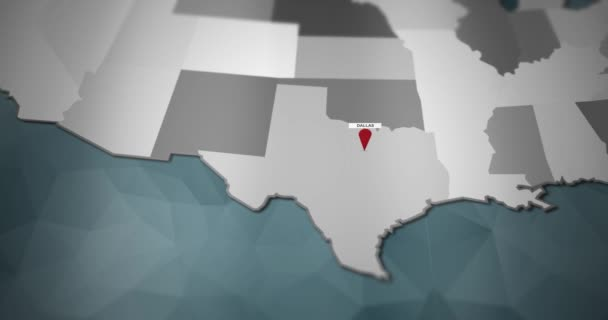 Modern United States motion graphics map - Dallas Pin Location Animation