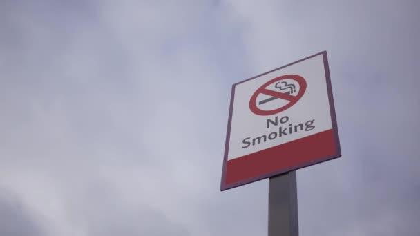 Cigarette logo no smoking post over dramatic sky background ALT
