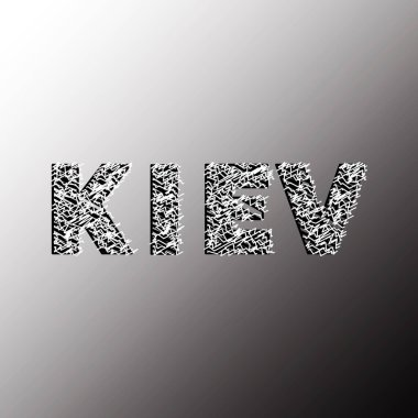 Kyiv. The word is written in sketch style. Stock Vector Illustration