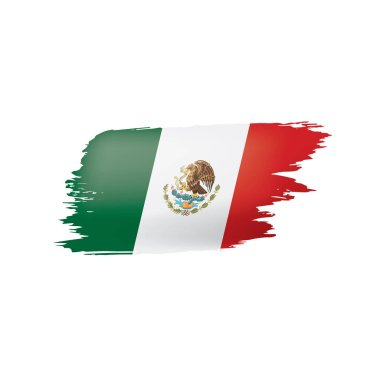 Mexican flag, vector illustration on a white background.