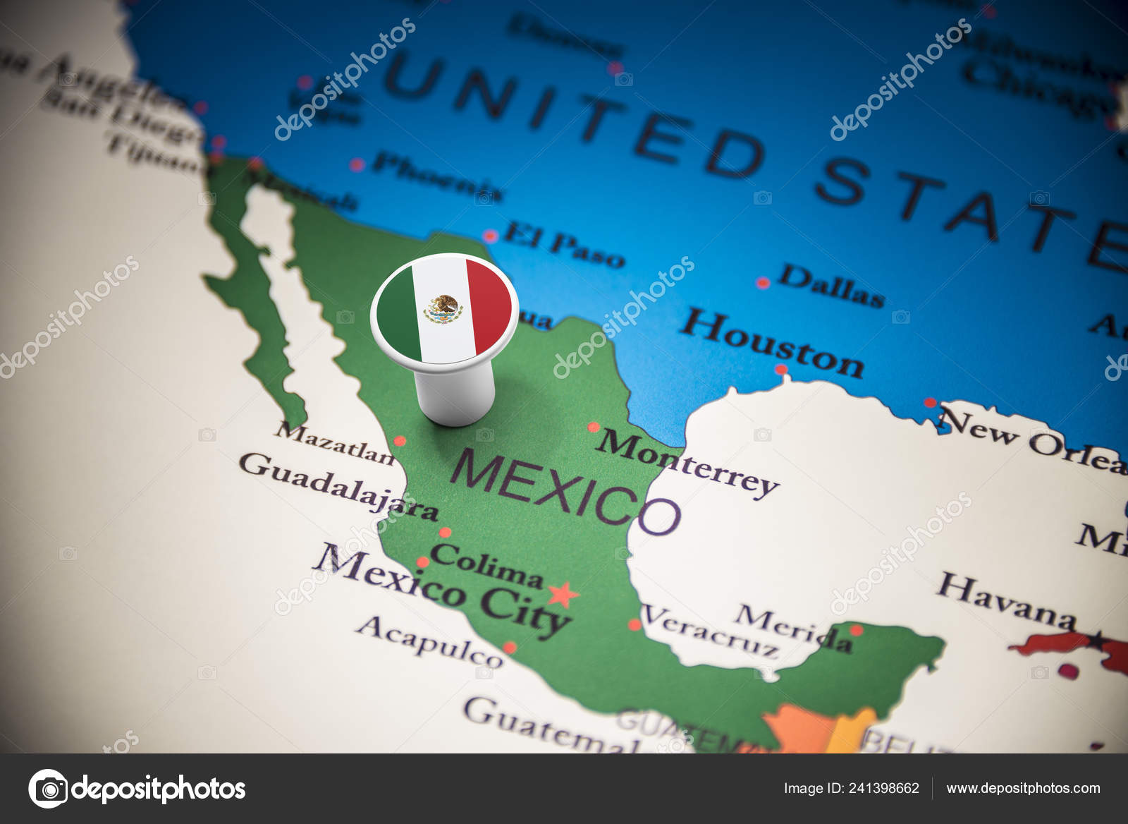 Mexico marked with a flag on the map – Stock Editorial Photo