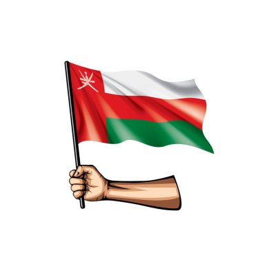 Oman flag and hand on white background. Vector illustration