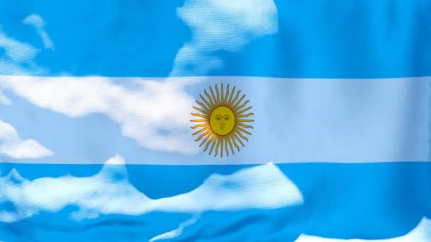 The national flag of Argentina is flying in the wind