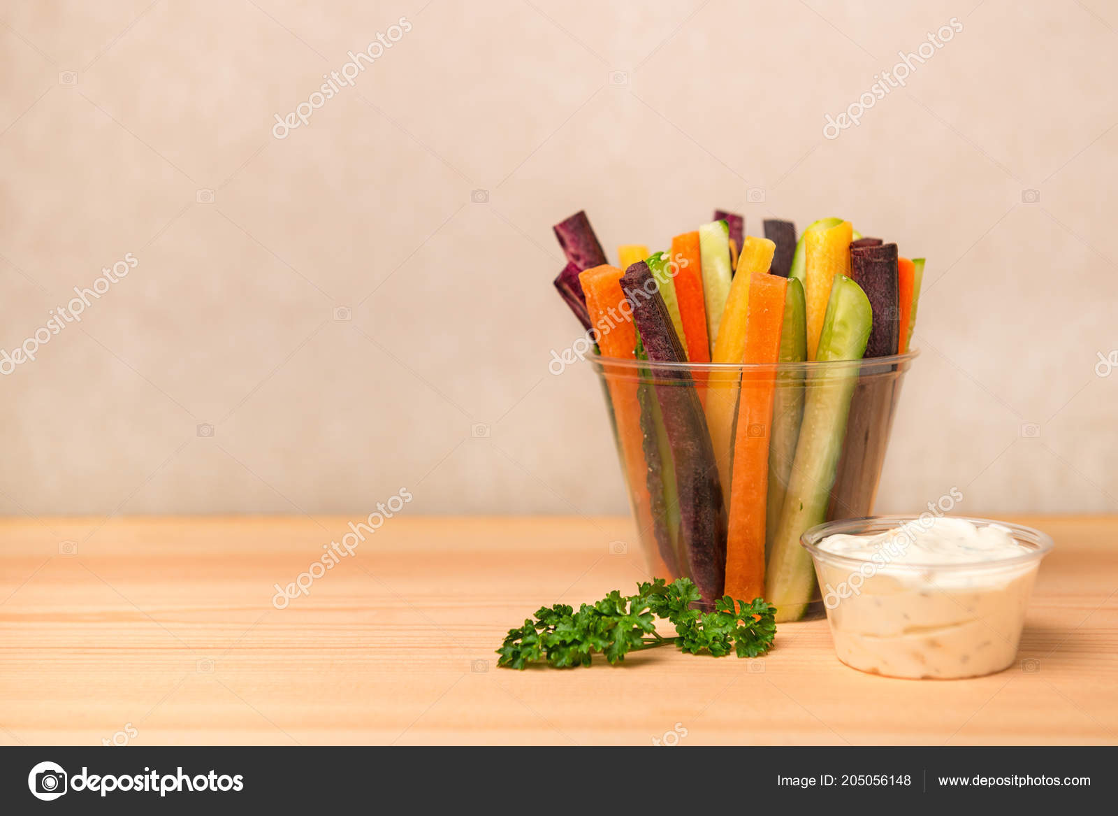 Colorful Carrots Cucumbers Vegetables Julienned Salad Sour Cream Dip
