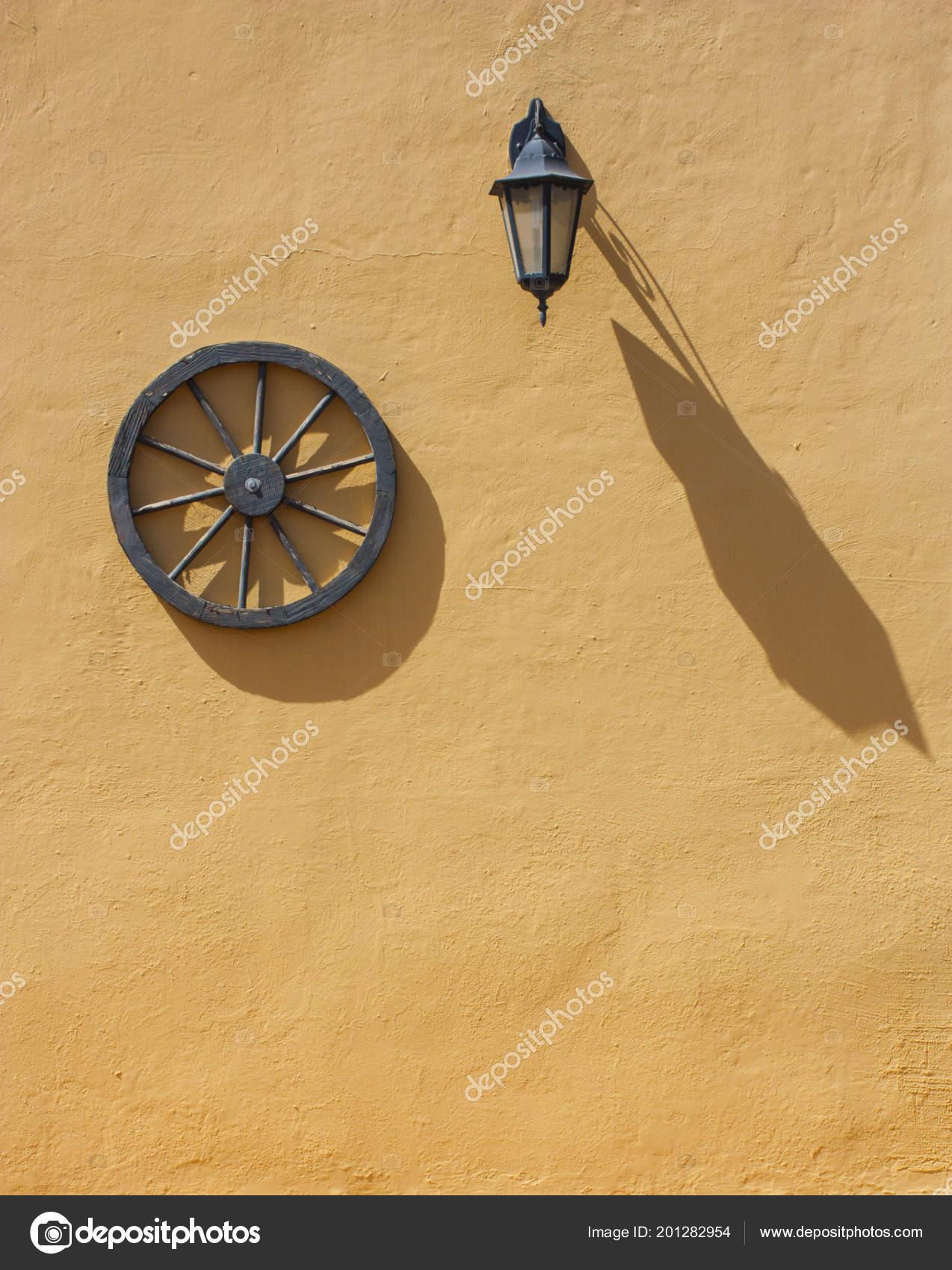 Vintage Old Exterior House Decoration Wooden Wheel Lantern Orange ...