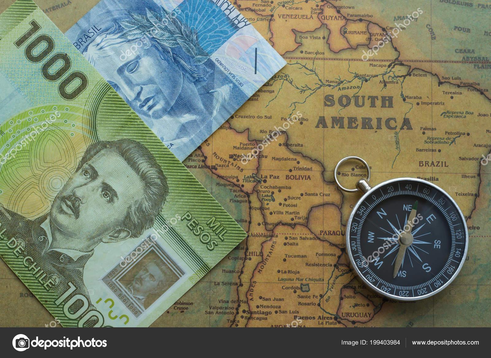 Ancient Map South America Brazilian Chilei Money Compass Close