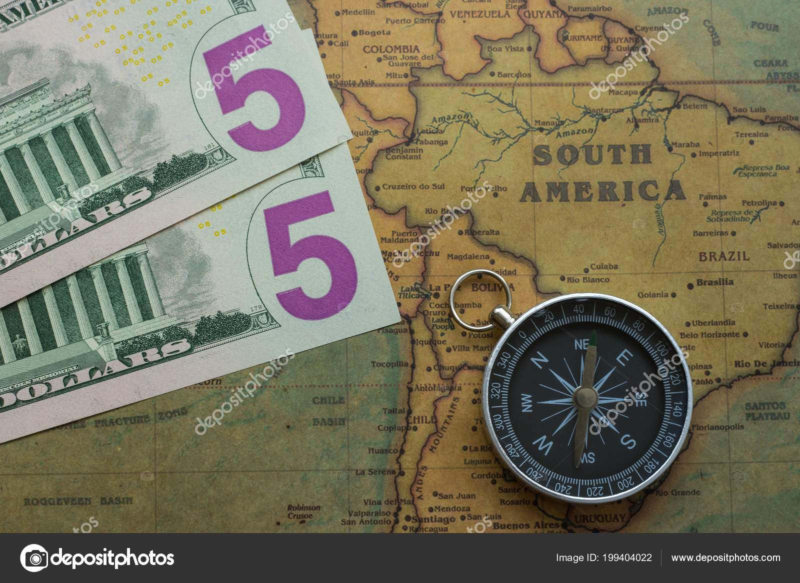America Map With Compass.Vintage Map South America Five Dolor Bills Compass Close Stock