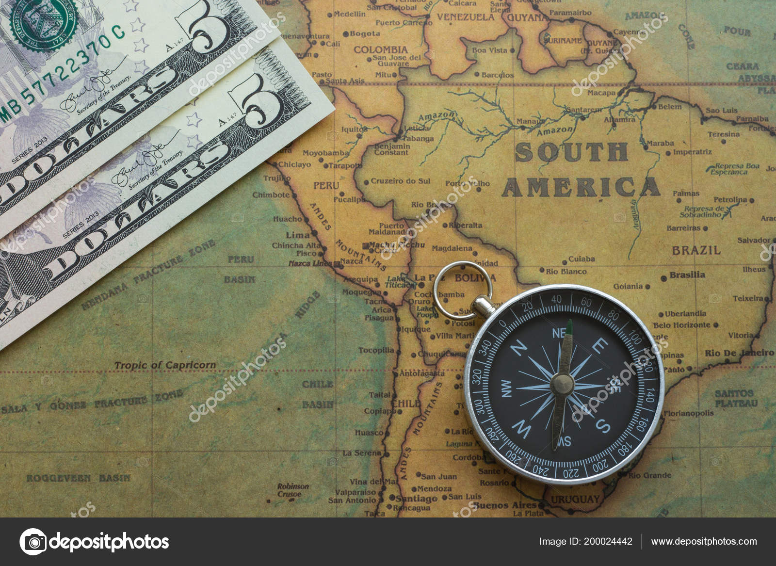 Ancient Map South America Usa Money Compass Close Stock Photo