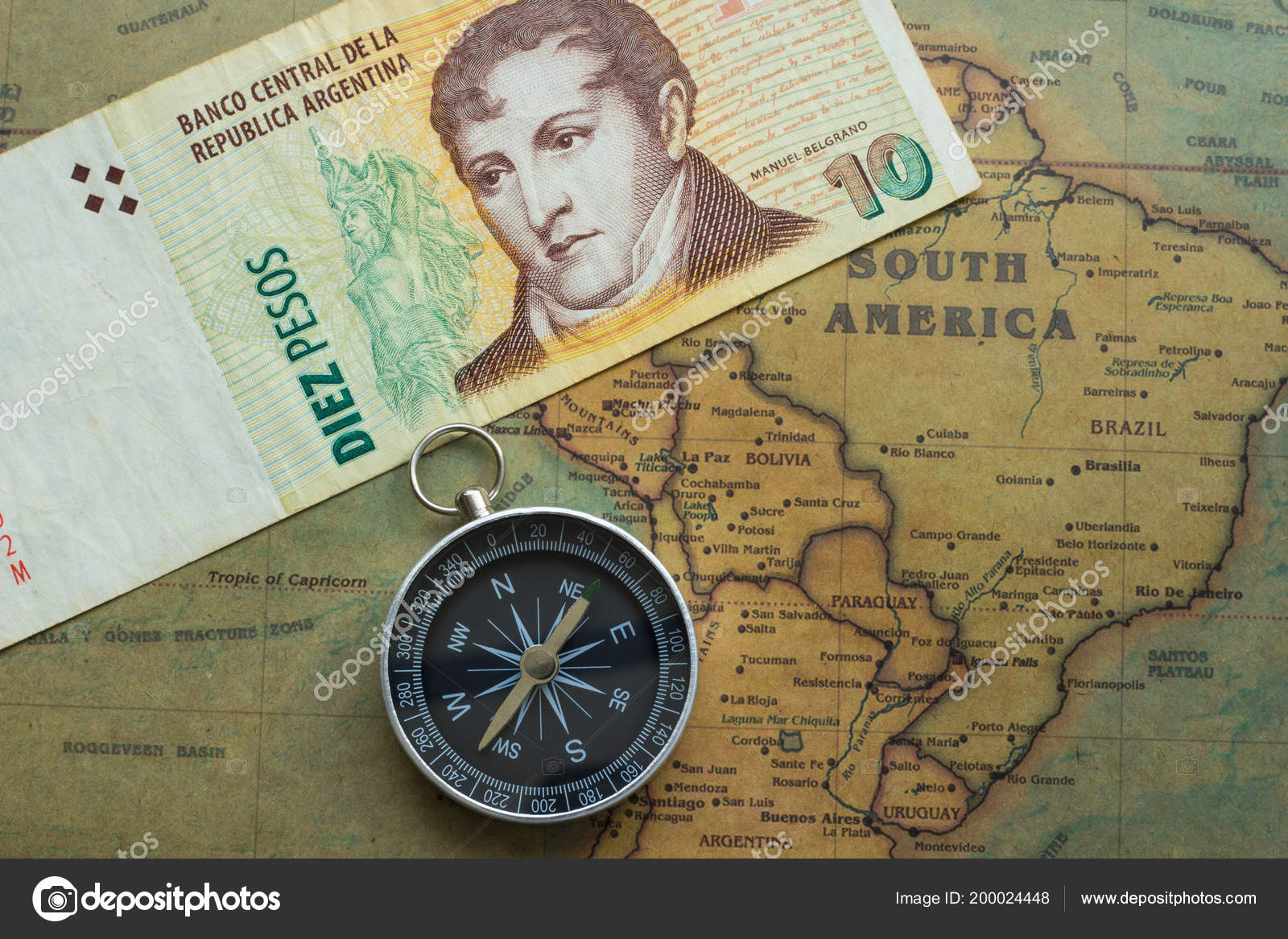 Old Map South America Argentine Money Compass Close – Stock ...