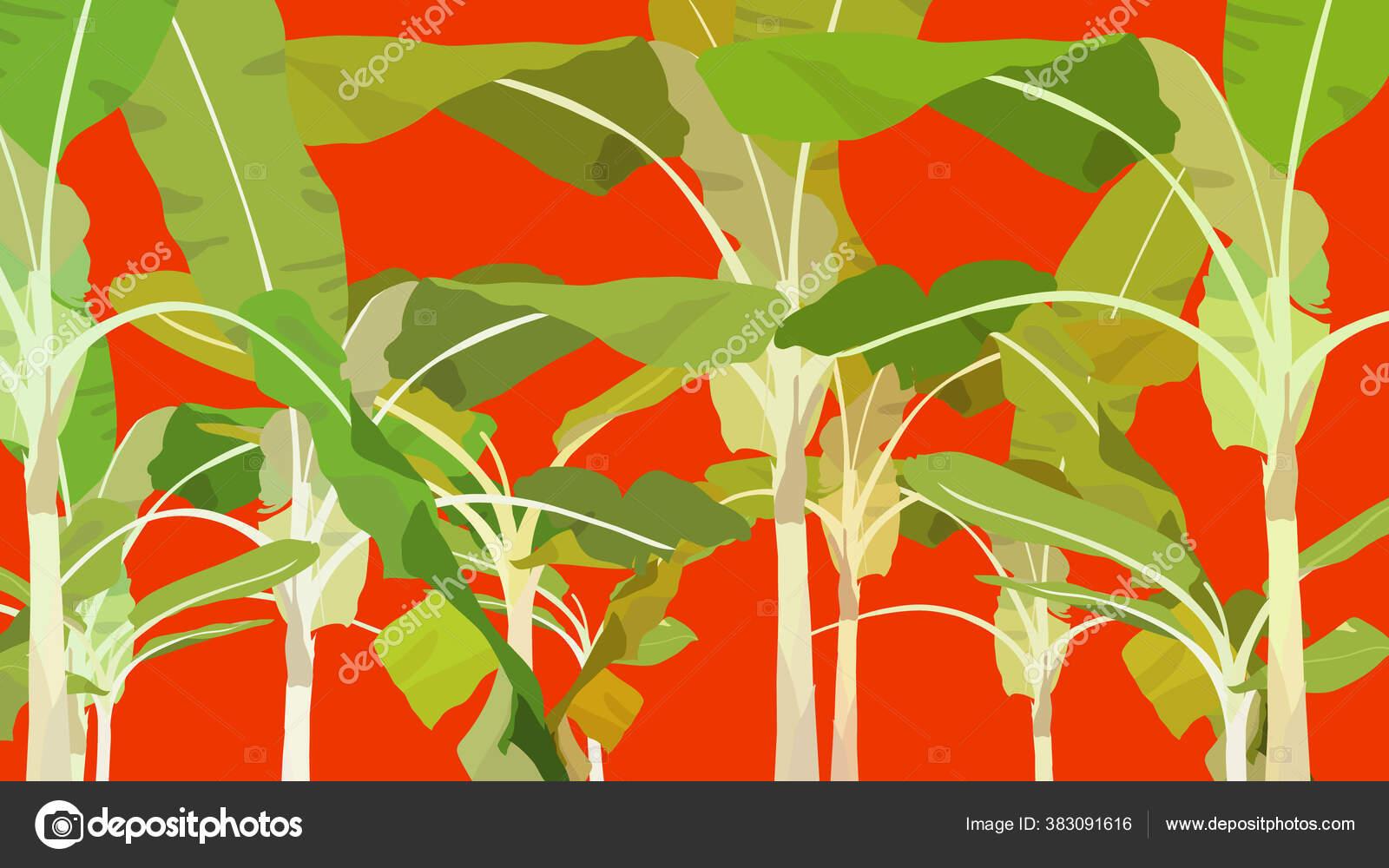 Hot Tropic Exotic Banana Jungle Flat Simple Vector Summer Vibe Stock Vector C Summercandy 383091616