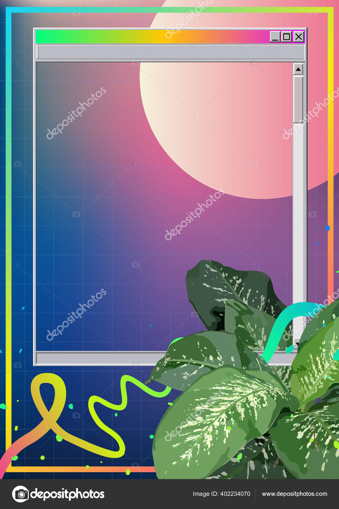 Vintage Retro Aesthetic Tropical Plant Frame Windows Style Neon Element Vector Image By C Summercandy Vector Stock 402234070