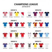 Photo Champions League football jerseys kit 2018 - 2019, soccer teams kit vector icons group stage A - H. Football or soccer jerseys set poster design isolated on white, sport teams