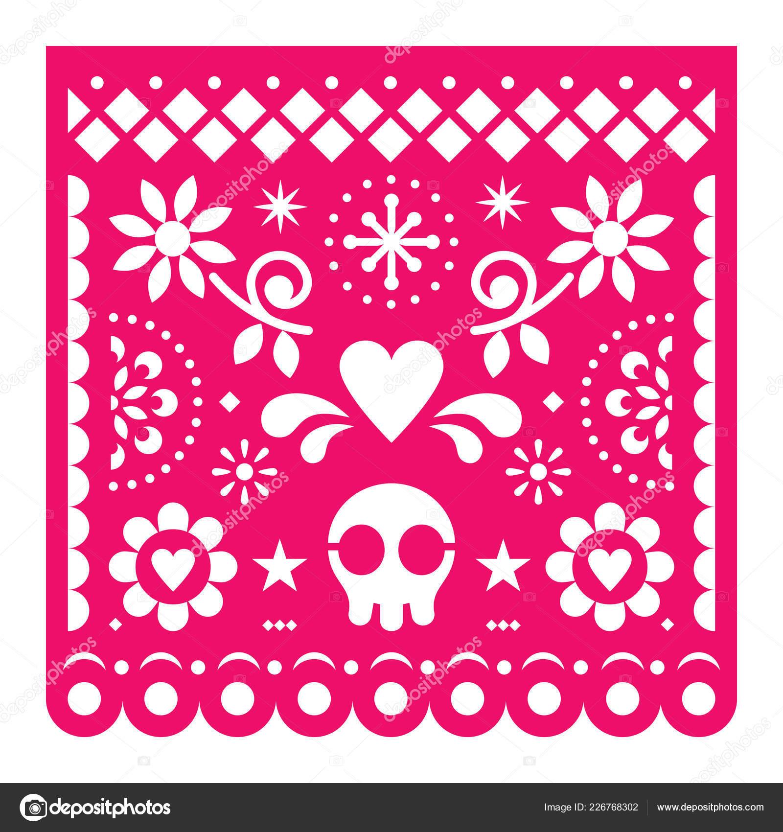 Mexican Papel Picado Vector Design Pink Retro Paper Fiesta
