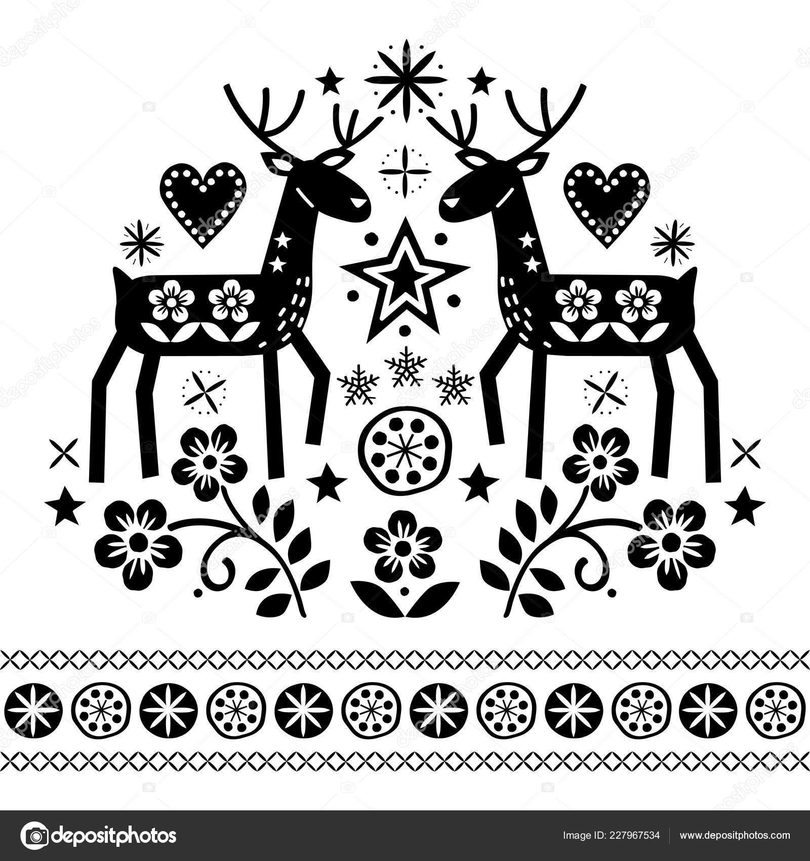 Diseño Vectores Navidad Con Renos Flores Patrón Arte Folk ...