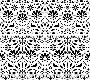 Mexican traditional folk art vector seamless geometric pattern with flowers and birds, black and white fiesta design inspired by traditional art form Mexico . Repetitive floral background with abstract shapes, decorative textile or wallpaper art