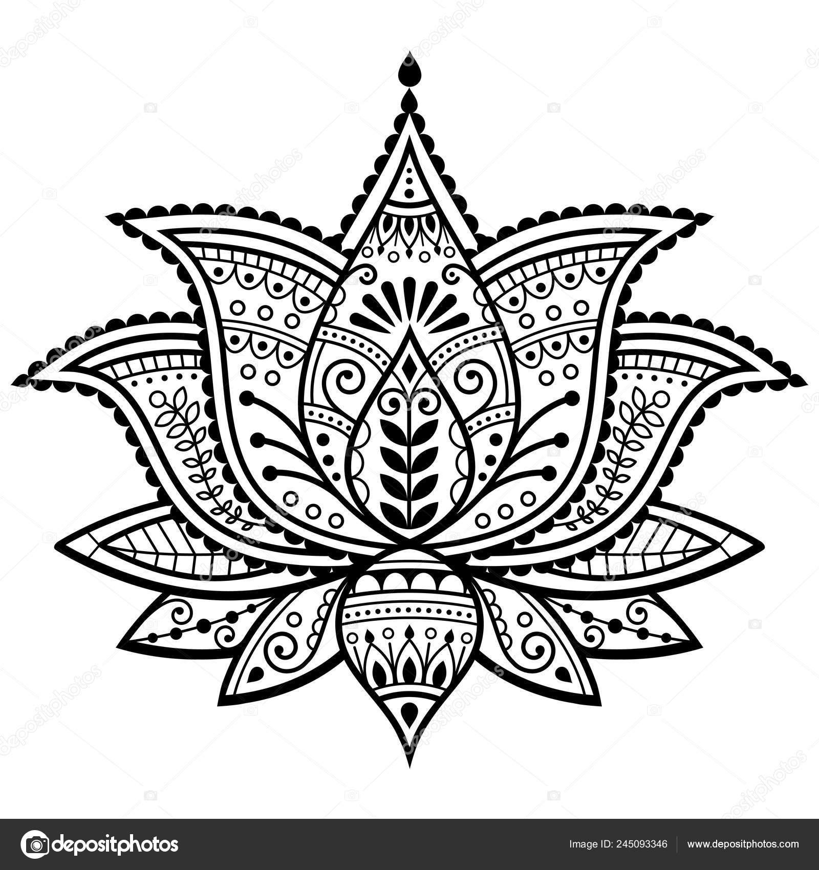 Mehndi Henna Tatuagem Desenho Vetor Flor Lótus Indiano