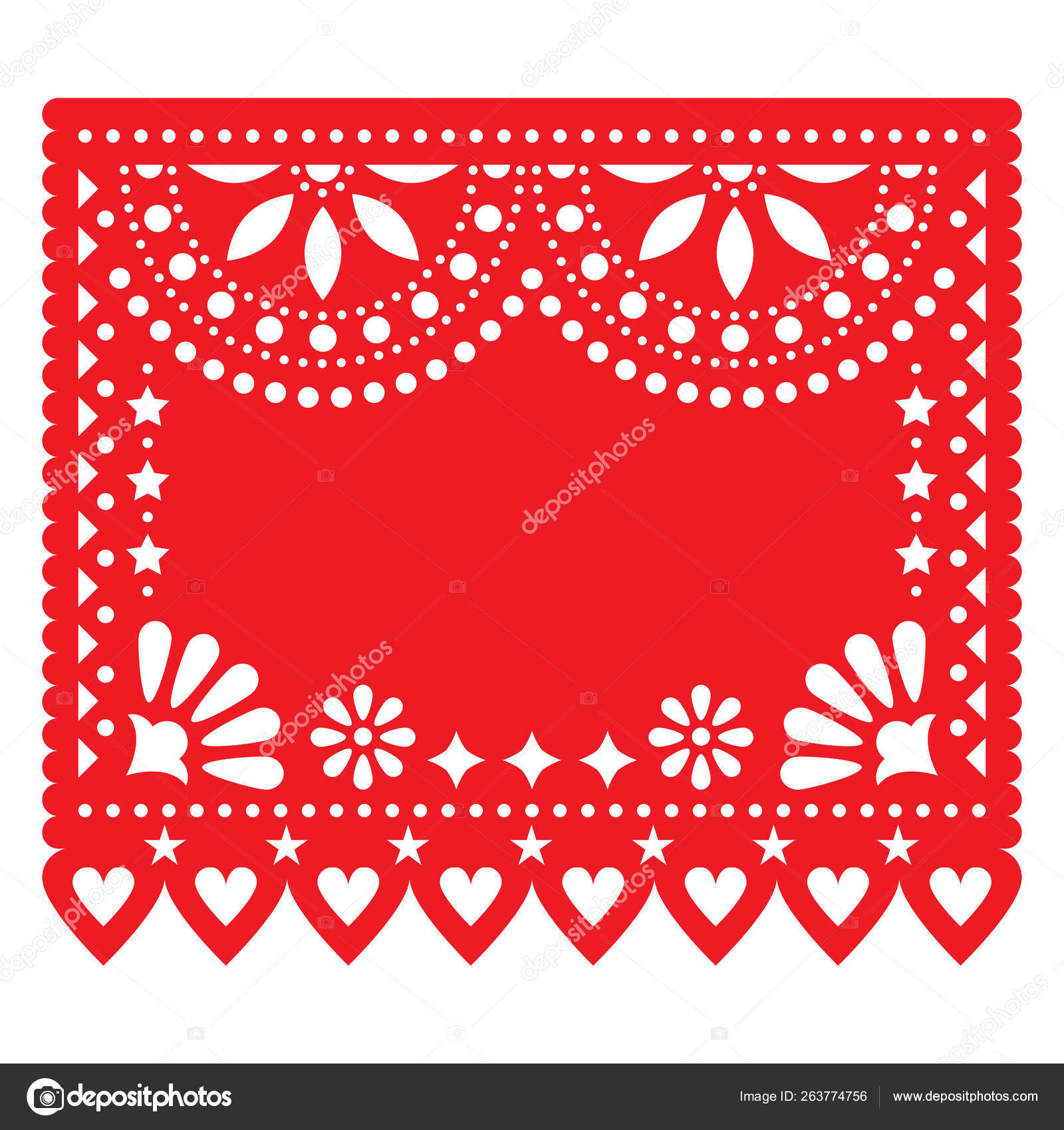 Papel Picado Red Vector Floral Template Design Abstract Shapes