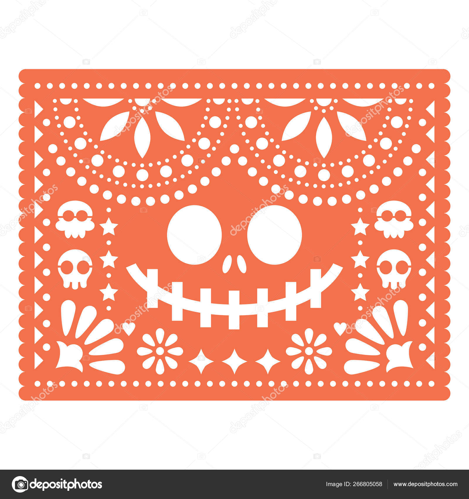cbf2f9d931a Halloween Papel Picado Design Skulls Pumpkin Scary Face Mexican ...