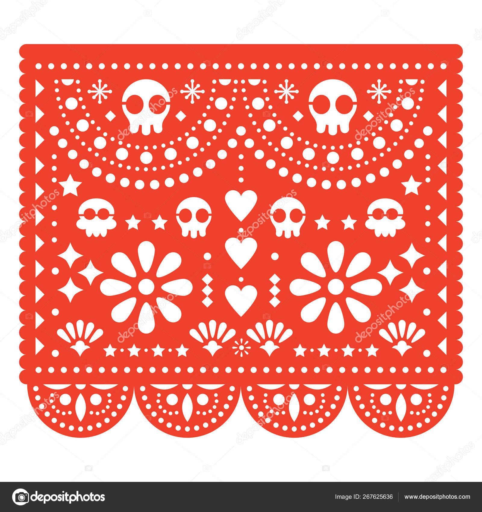 Cráneos Papel Picado Diseño Vectorial Papel Mexicano