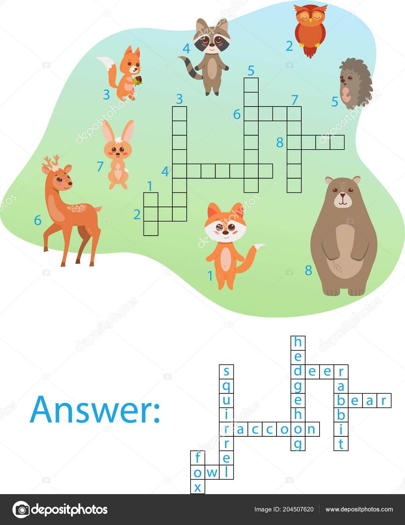 抽象的な背景のかわいい森の動物とクロスワード。ベクトル図 — ストック