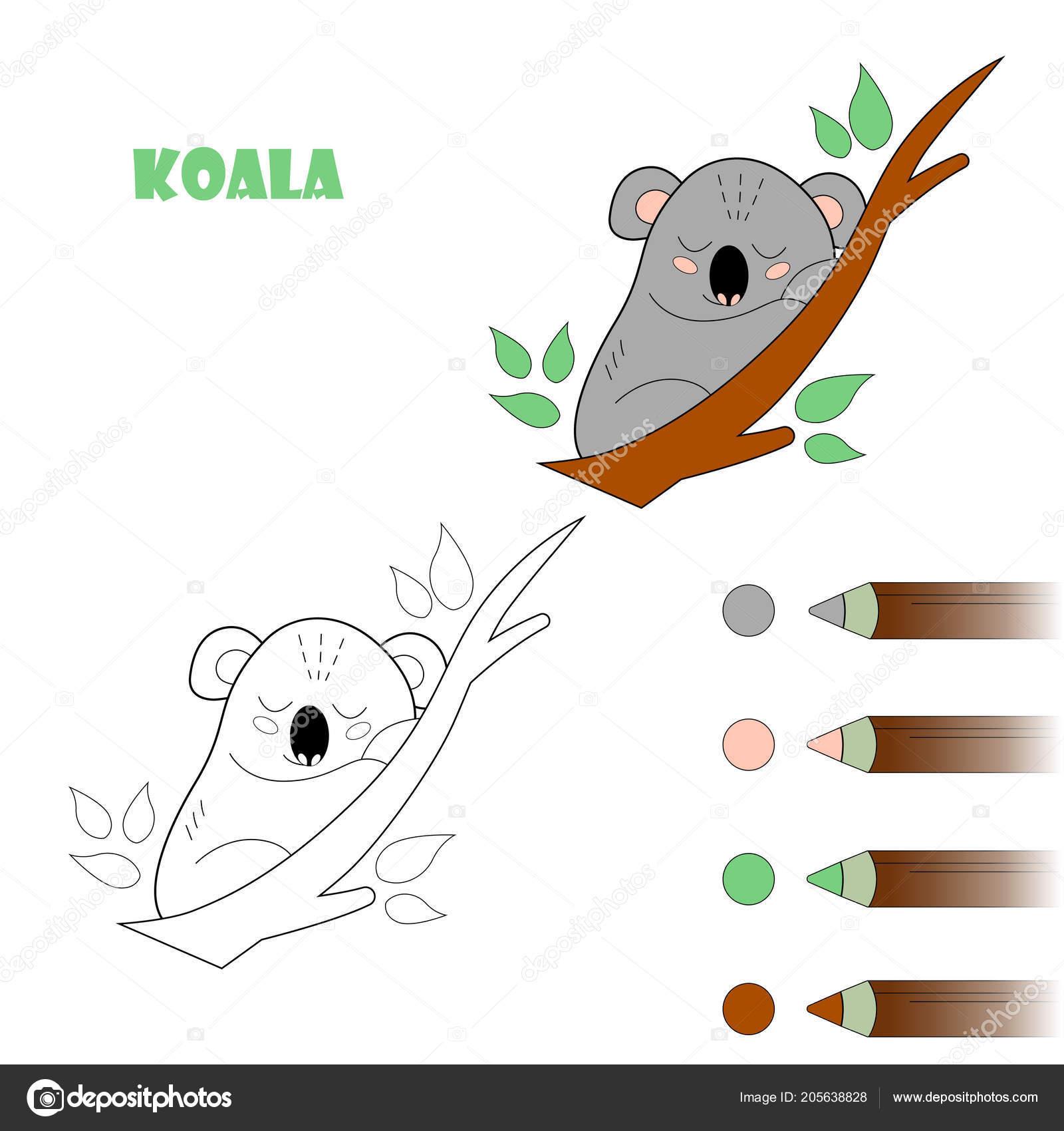 Página De Libro Para Colorear Para Niños Dibujos Animados Koala