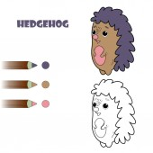 Fényképek Coloring book page for children. Cartoon hedgehog. Vector illustration