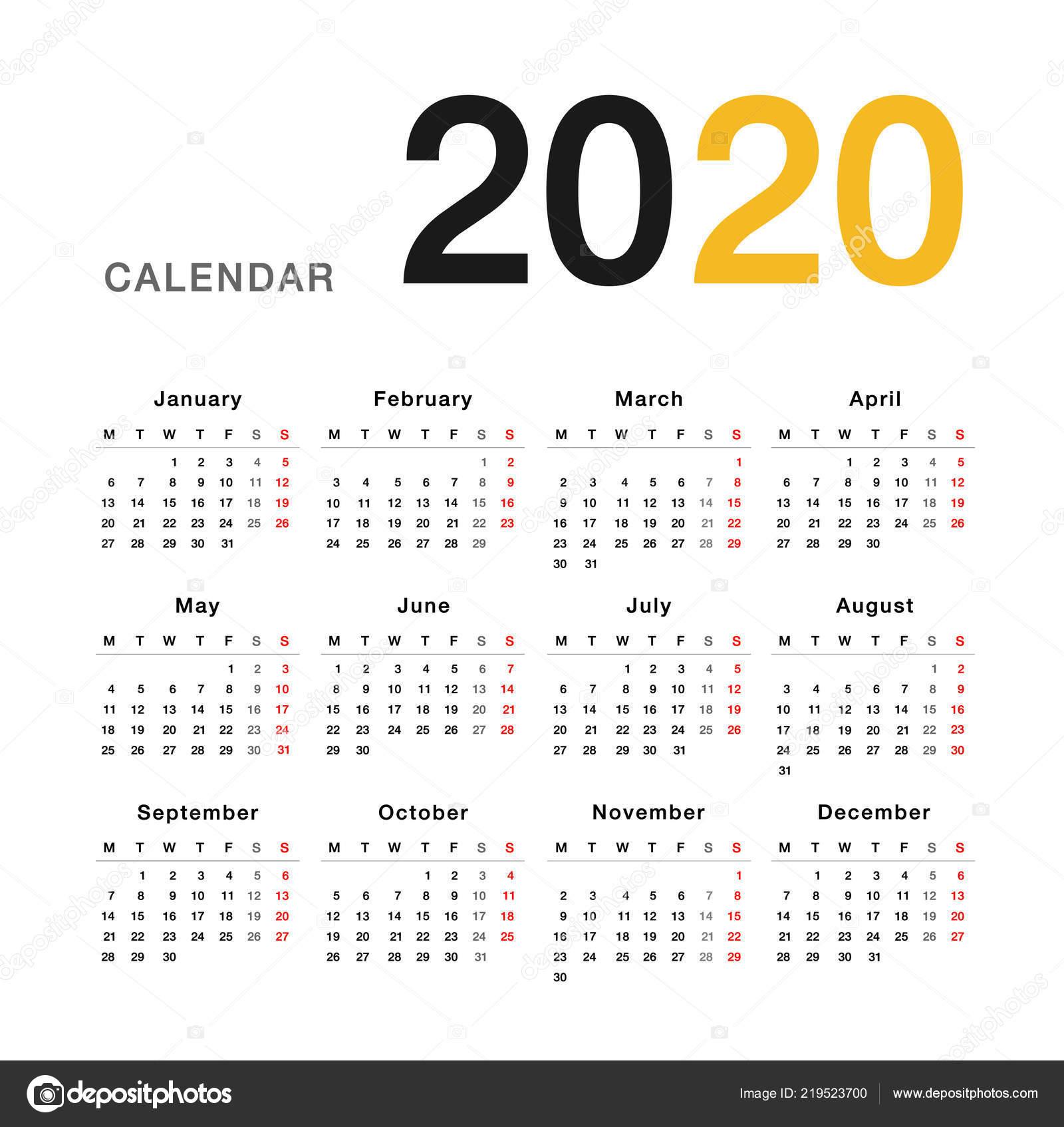 Calendario 2020 Editable Illustrator.Colorful Calendar Year 2020 Vector Design Template Simple
