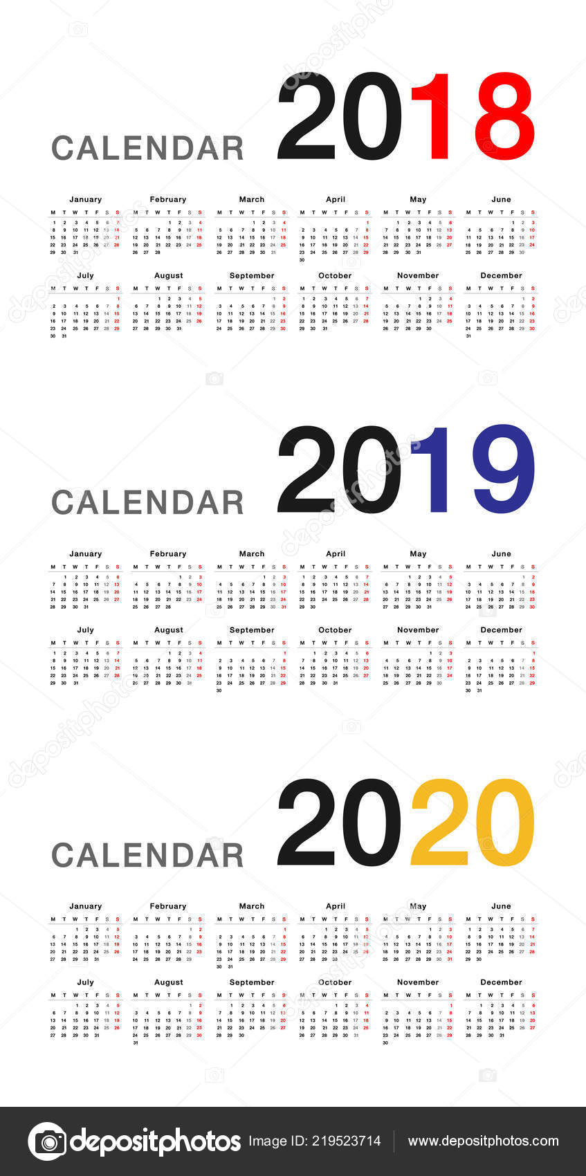 Calendar Year 2020.Year 2018 Year 2019 Year 2020 Calendar Vector Design Template