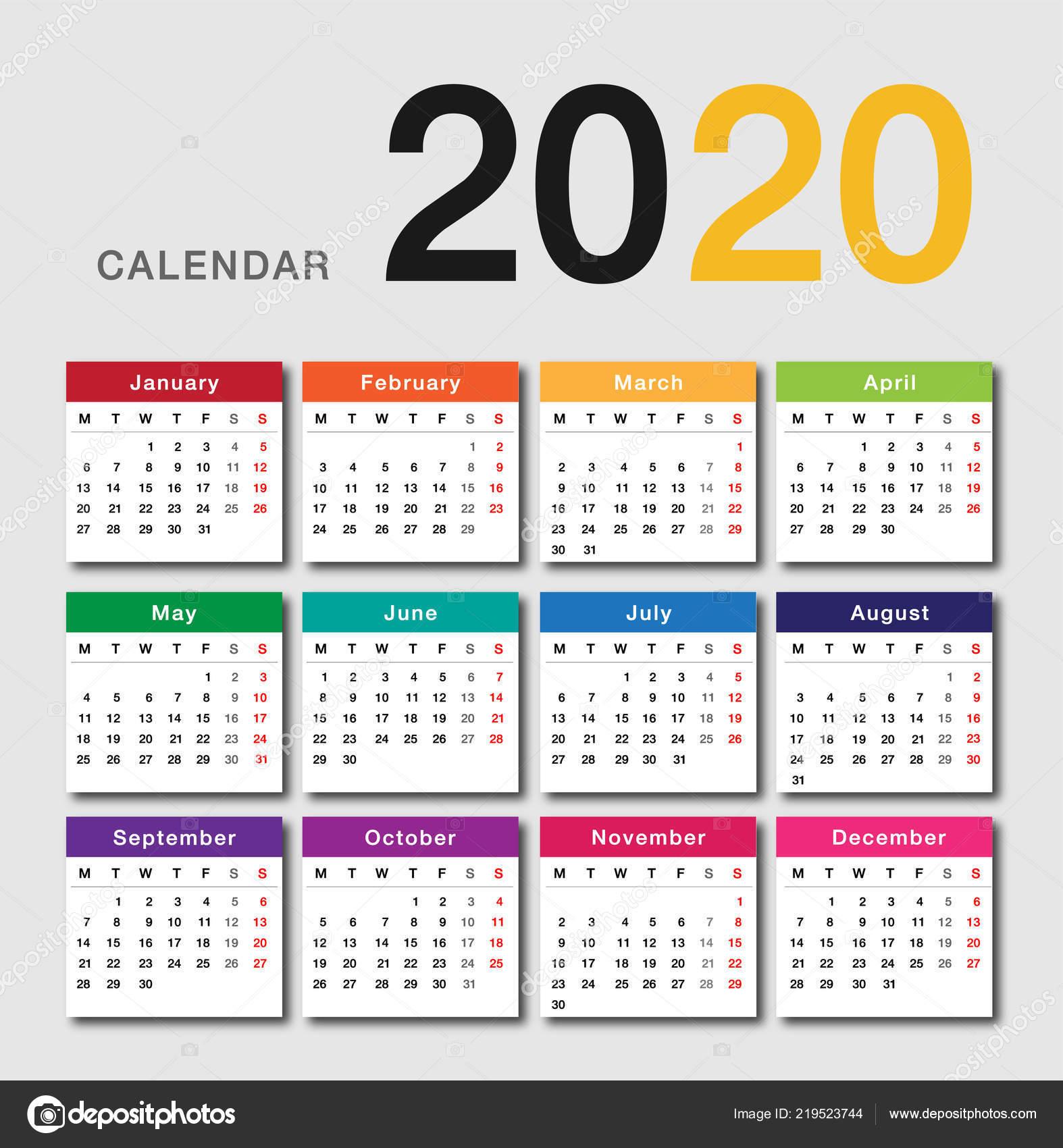 Calendario De 2020 Brasil.Modelo Design Vetor Colorido Calendario Ano 2020 Design