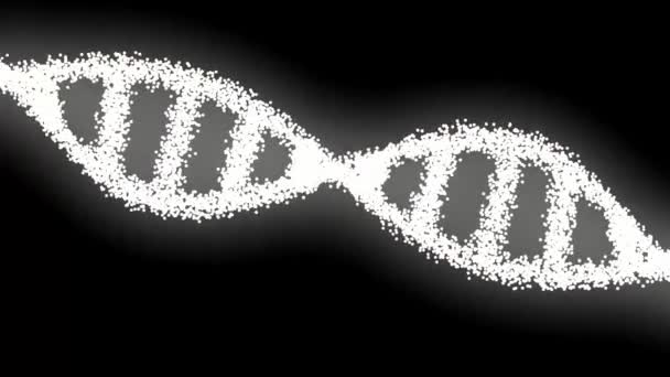 Rotating DNA glowing molecule on blue background. Genetics concept. DNA molecule structure.Science concept and color background