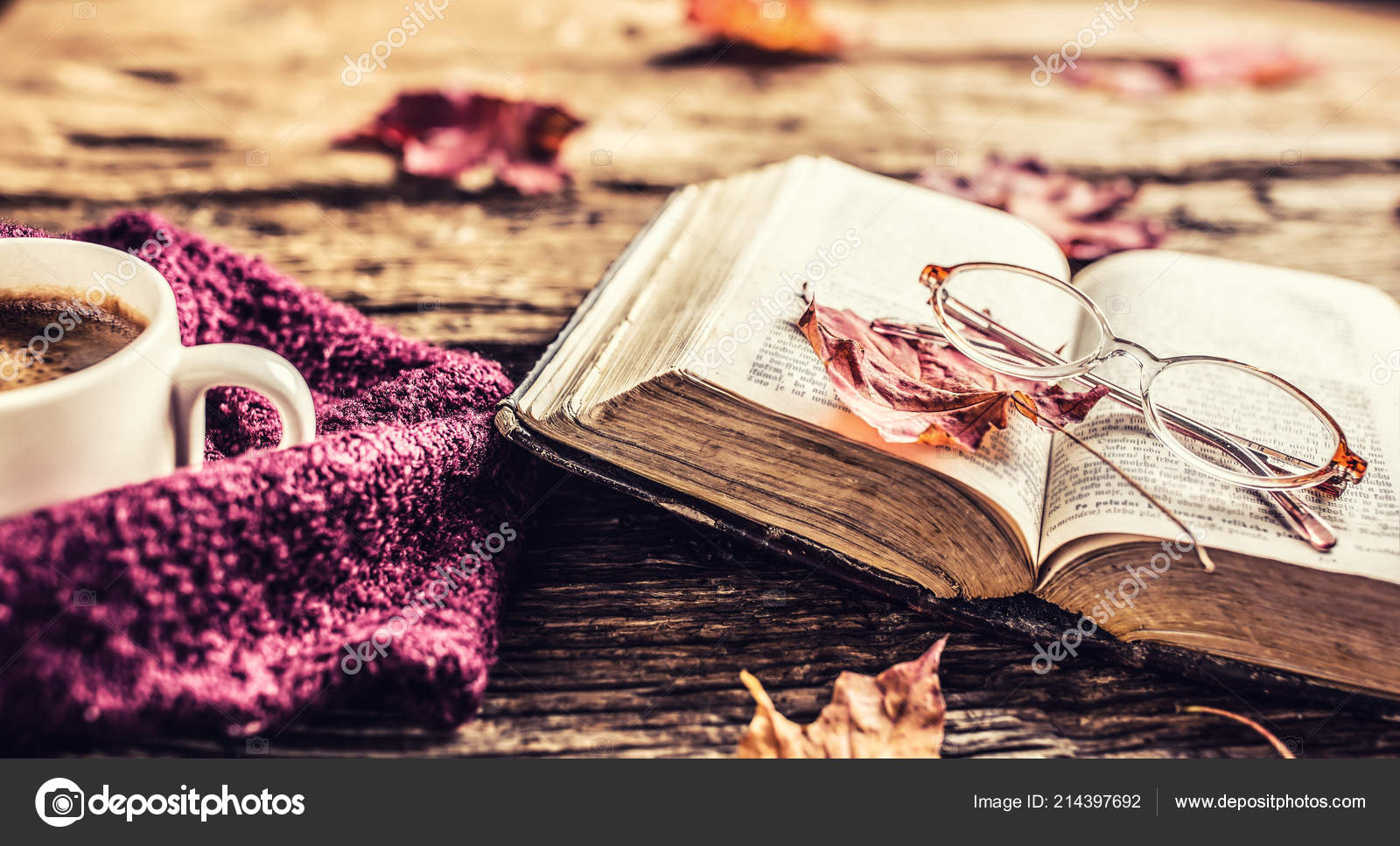 Cup Coffee Old Book Glasses Autumn Leaves Rustic Wooden Table Stock Photo By C Weyo 214397692 Wallpaper tea cup book garlands leaves