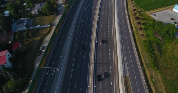 Flying Over Freeway. Busy Hours