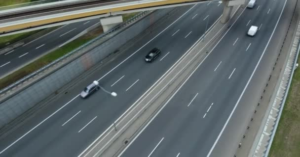Overhead Drone Shot. Follow Traffic