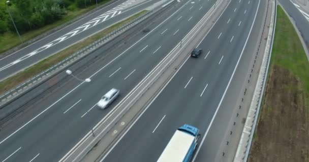 Revealing Aerial View Of Highway. Traffic Driving