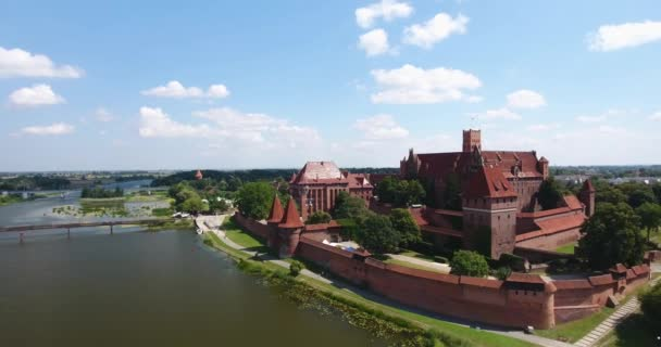 Enormous Red Castle In Poland. Aerial View. Panorama