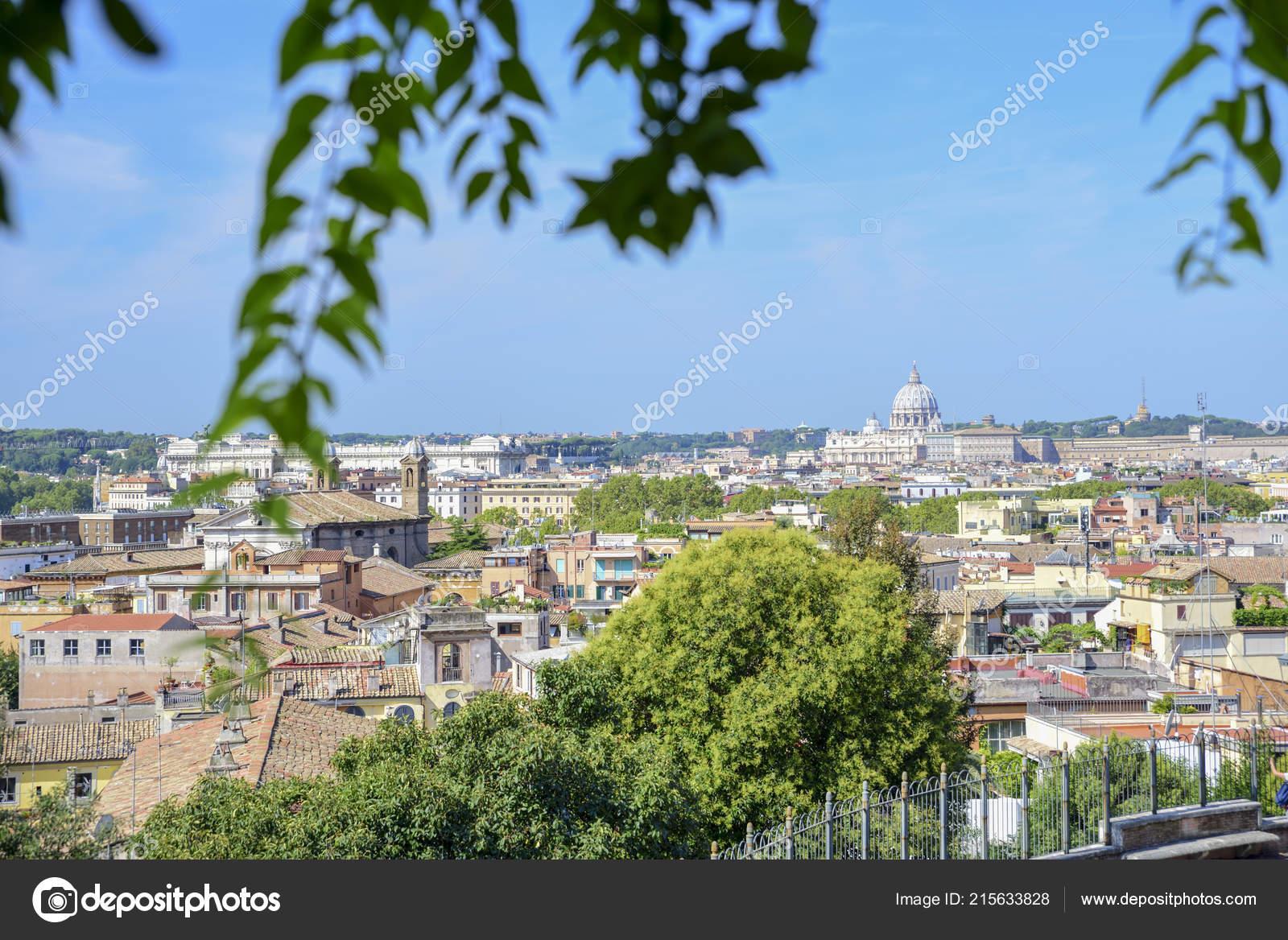 Panorama Roma Desde Terraza Pincio Italia Foto De Stock