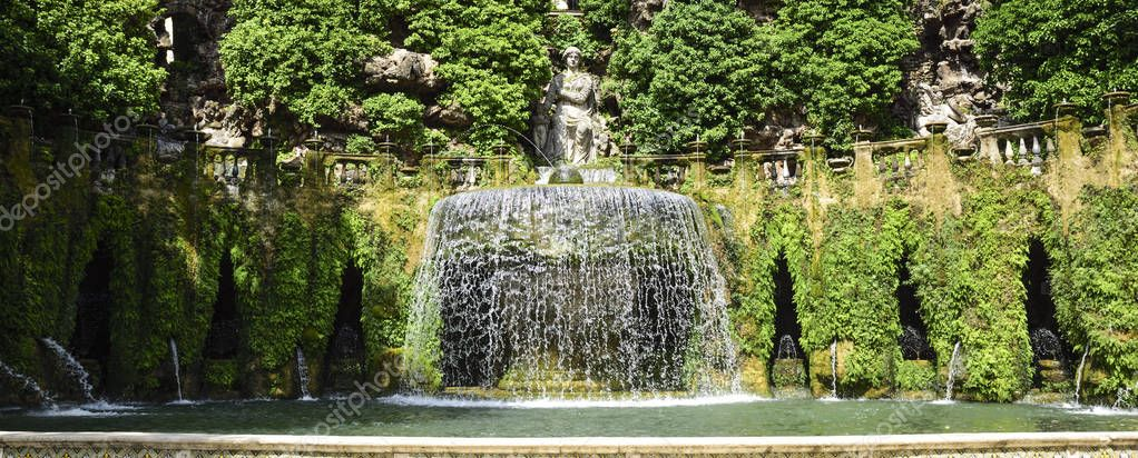The famous gardens of Villa D 'Este, near Rome, Italy. In the garden there are about fifty fountains