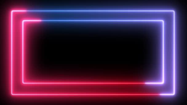 Opakování bezešvých neonové rámy v modrých a červených barvách