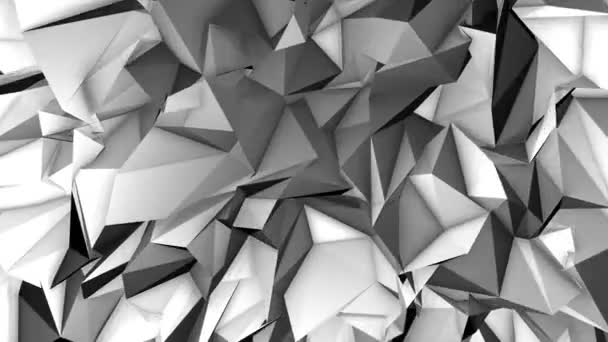 Looped Low Poly Triangular Background. Crystals Polygonal Seamless Loop Motion Graphics.