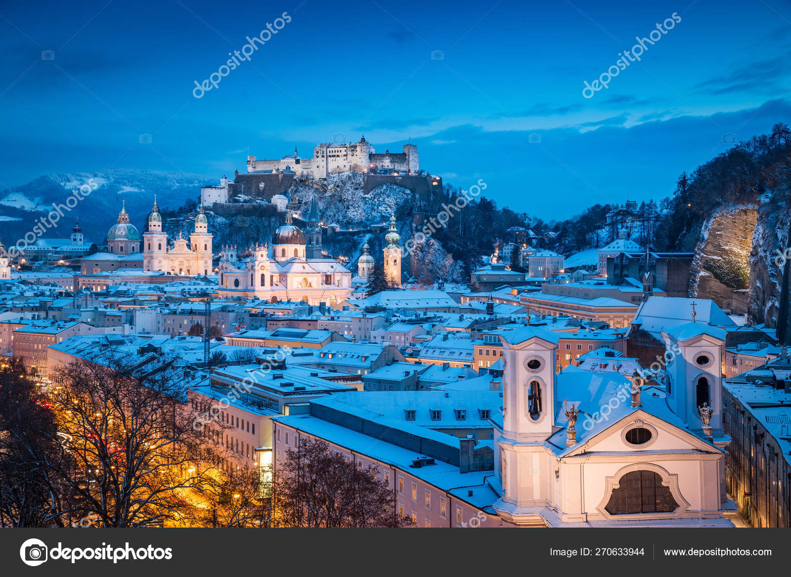 Salzburg Christmas Time.Salzburg Old Town At Christmas Time In Winter Austria