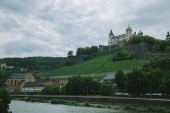 old historical Marienberg Fortress on hill near main river in Wurzburg, Germany