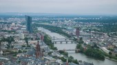 Fotografie aerial view of bridges over Main river and buildings in Frankfurt, Germany