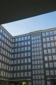 low angle view of building under blue clear sky in Hamburg, Germany
