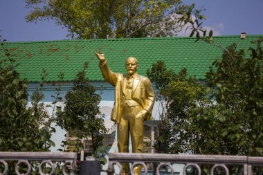 Taskala, Uralsk, West Kazakhstan (Qazaqstan) - 28.07.2019: Statue of Vladimir Ilyich Lenin
