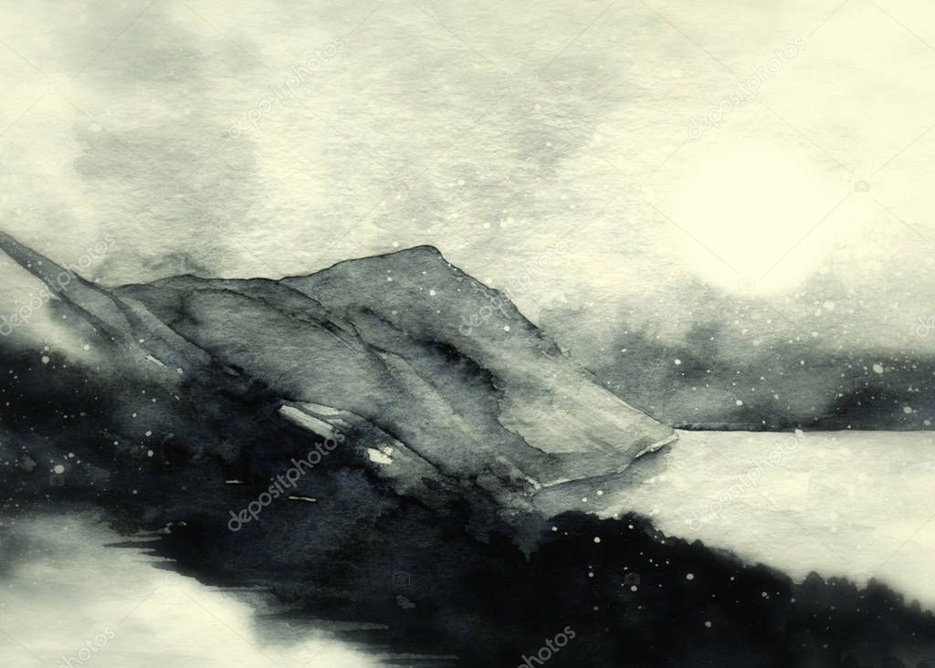 Watercolour sketch of abstract gray landscape with mountains and sky